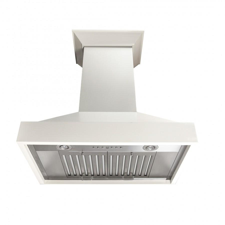 "ZLINE 36"" Wooden Wall Mount Range Hood in White, 760 CFM, KBTT-36"