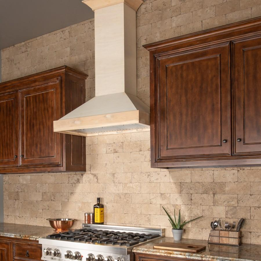 "ZLINE 30"" Unfinished Wooden Wall Range Hood - 760 CFM Motor, KBUF-30 - Farmhouse Kitchen and Bath"