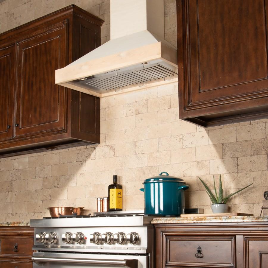 "ZLINE 48"" Unfinished Wooden Wall Range Hood, KBUF-48 - Farmhouse Kitchen and Bath"