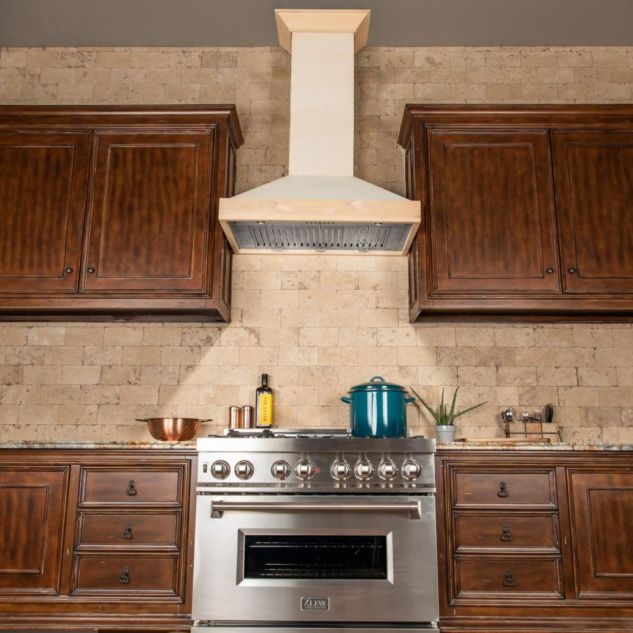 "ZLINE 36"" Unfinished Wooden Wall Range Hood - 760 CFM Motor, KBUF-36 - Farmhouse Kitchen and Bath"