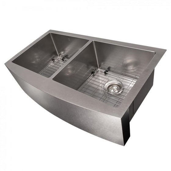 "ZLINE 36"" Undermount Double Bowl Apron Sink Stainless Steel, SA50D-36S - Farmhouse Kitchen and Bath"