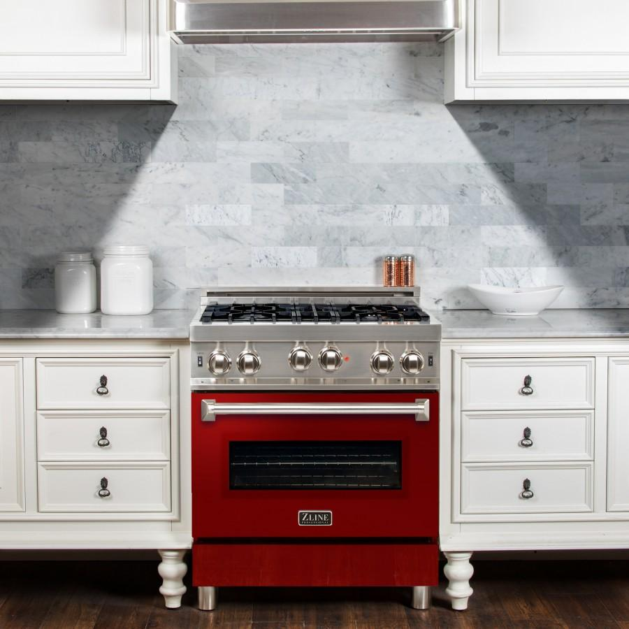 "ZLINE 30"" Gas on Gas Range, Stainless, Red Gloss Door, RG-RG-30 - Farmhouse Kitchen and Bath"