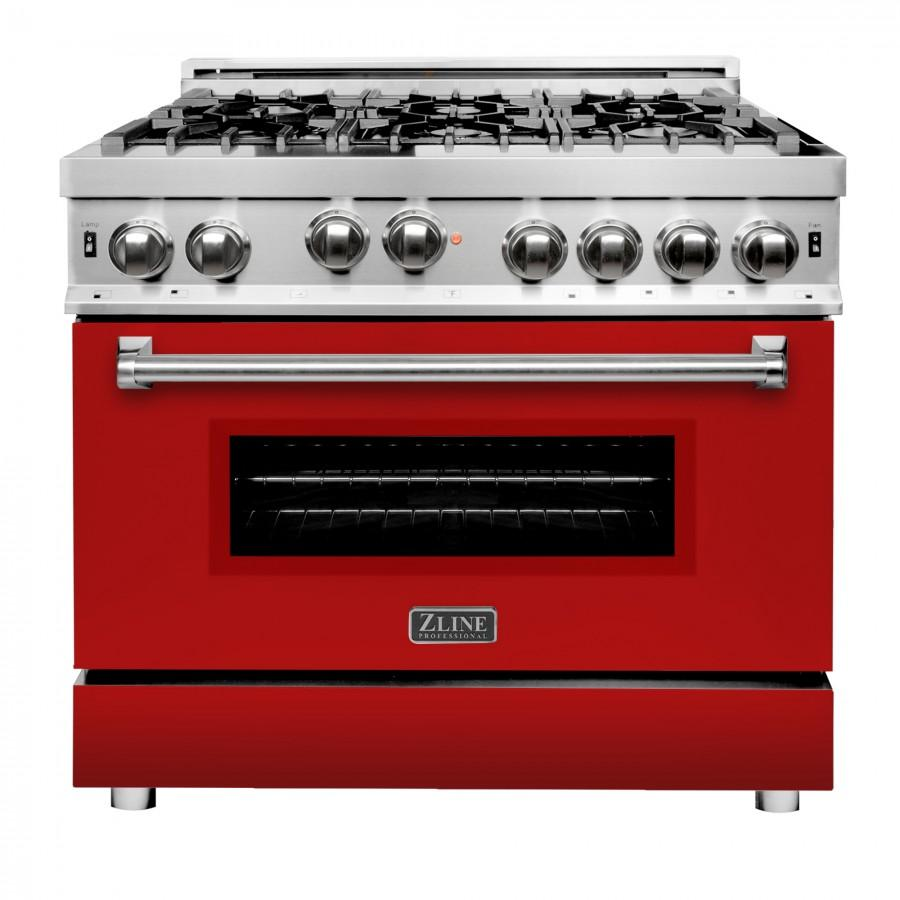 "ZLINE 36"" Gas on Gas Range in Stainless, Red Matte Door, RG-RM-36 - Farmhouse Kitchen and Bath"