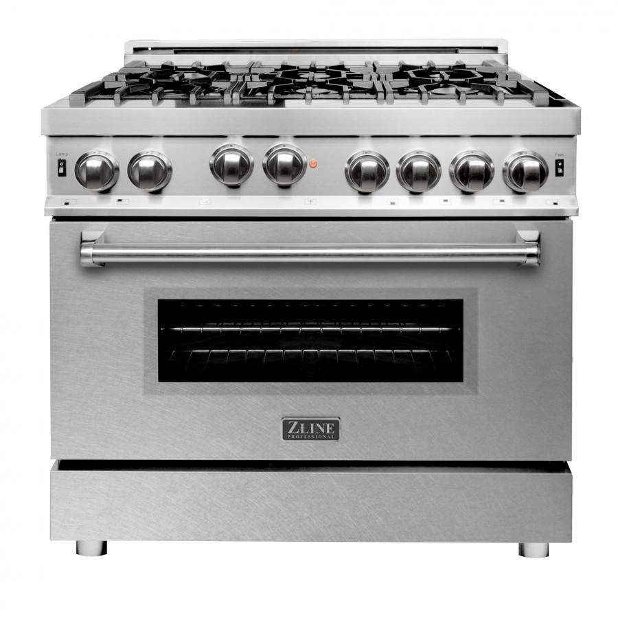 "ZLINE 36"" Gas on Gas Range, Stainless, Snow Finish Door, RG-SN-36 - Farmhouse Kitchen and Bath"