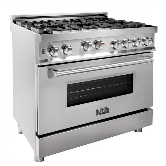 ZLINE 36' Professional Gas on Gas Range in Stainless Steel, RG36 - Farmhouse Kitchen and Bath