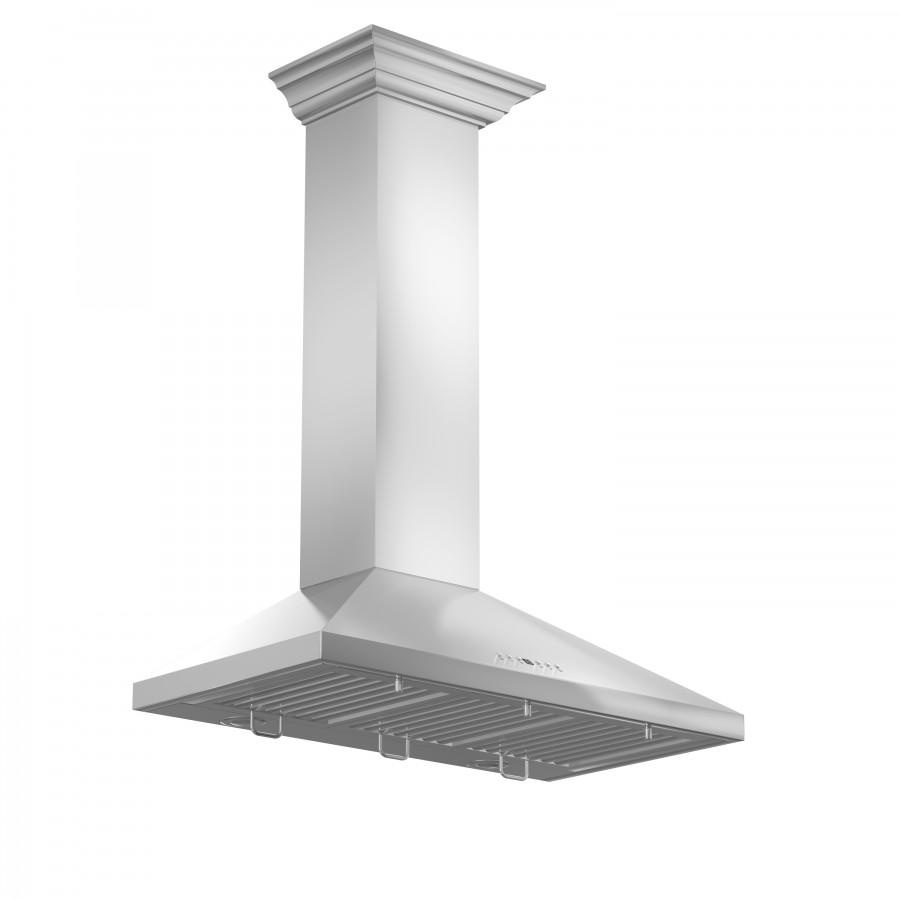 "ZLINE 36"" Stainless Steel Wall Range Hood, Crown Molding, KL2CRN-36 - Farmhouse Kitchen and Bath"
