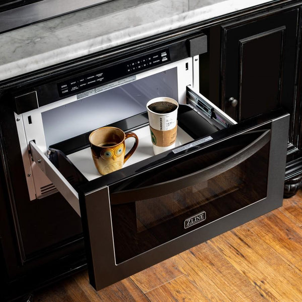 "Under Counter Microwave For Easier Works: ZLINE 24"" 1.2 Cu. Ft. Microwave Drawer In Black Stainless"