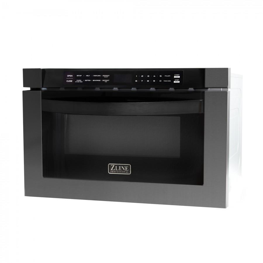 Zline 24 Quot 1 2 Cu Ft Microwave Drawer In Black Stainless