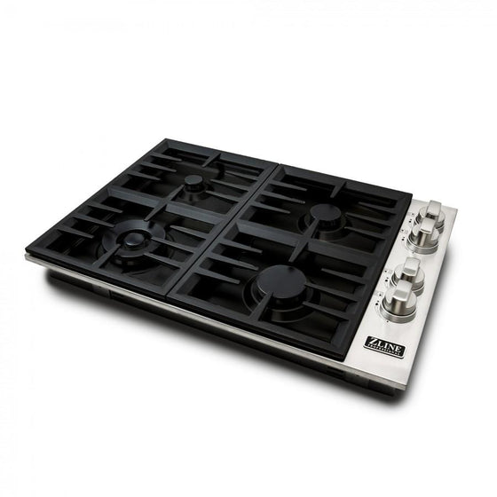 "ZLINE 30"" Dropin Cooktop, 4 Gas Burners, Black Porcelain Top, RC30-PBT - Farmhouse Kitchen and Bath"