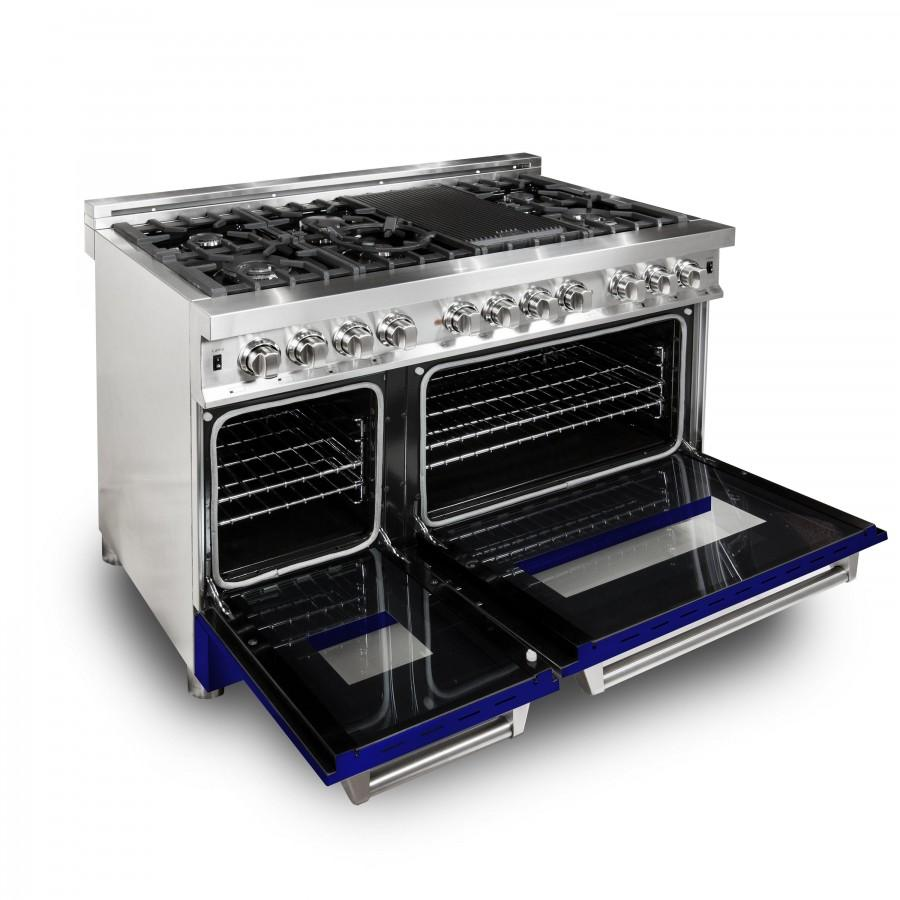 "ZLINE 48"" Professional Dual Fuel Range with Blue Gloss Door, RA-BG-48 - Farmhouse Kitchen and Bath"