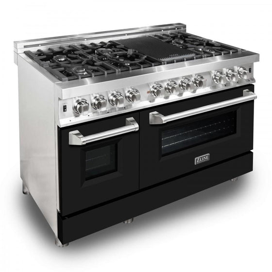 "ZLINE 48"" Professional Dual Fuel Range with Black Matte Door, RA-BLM-48 - Farmhouse Kitchen and Bath"