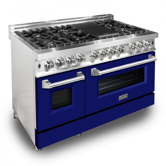 "ZLINE 48"" Professional Dual Fuel Range with Blue Matte Door, RA-BM-48 - Farmhouse Kitchen and Bath"