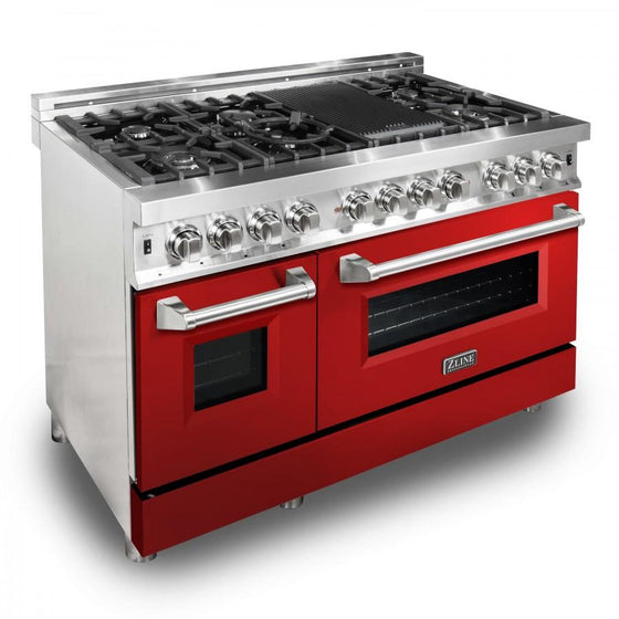 "ZLINE 48"" Professional Dual Fuel Range with Red Gloss Door, RA-RG-48 - Farmhouse Kitchen and Bath"