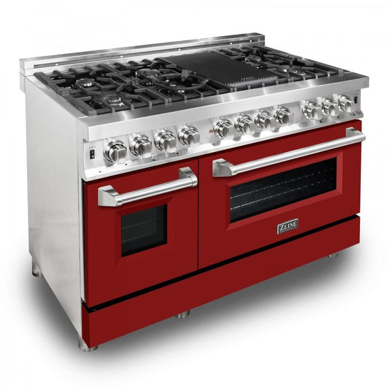 "ZLINE 48"" Professional Dual Fuel Range with Red Matte Door, RA-RM-48 - Farmhouse Kitchen and Bath"