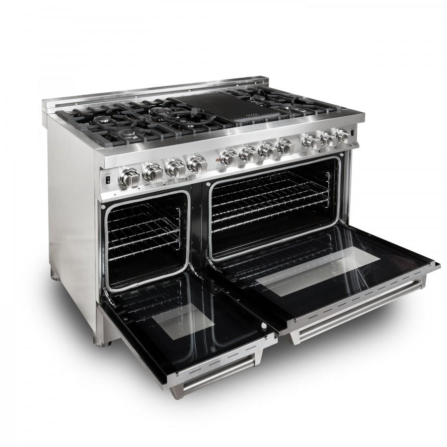 "ZLINE 48"" Professional Dual Fuel Range with Snow Finish Door, RA-SN-48 - Farmhouse Kitchen and Bath"