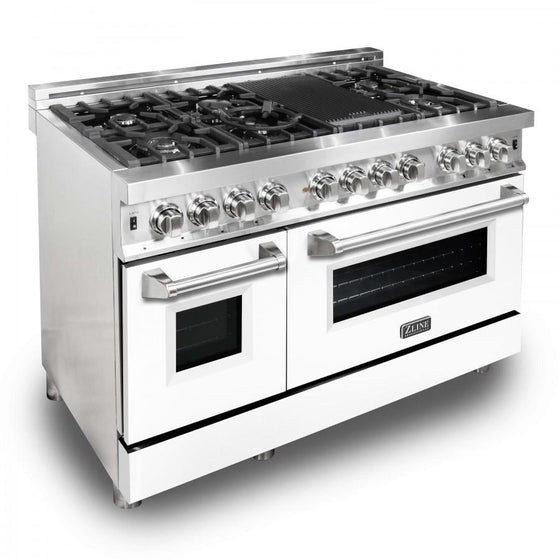 "ZLINE 48"" Professional Dual Fuel Range with White Matte Door, RA-WM-48 - Farmhouse Kitchen and Bath"