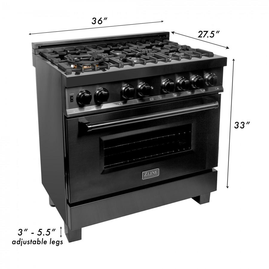 "ZLINE 36"" Black Stainless 4.6 cu.ft. 6 Gas Burner/Electric Oven Range, RAB-36 - Farmhouse Kitchen and Bath"