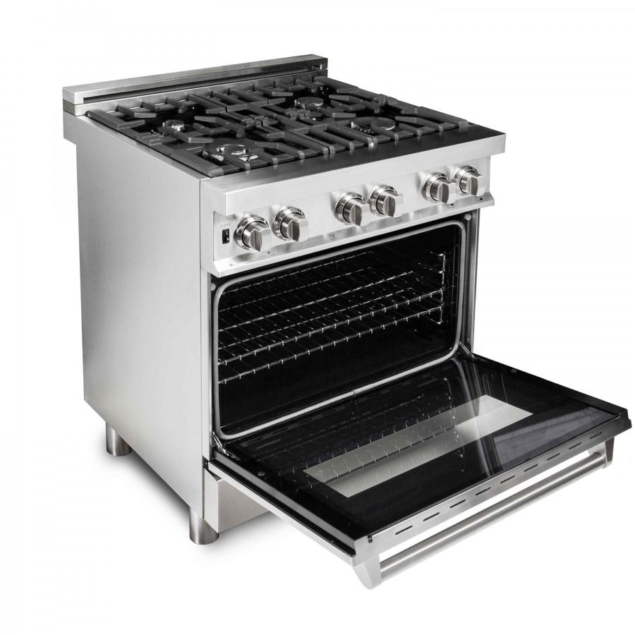 "ZLINE 30"" Stainless 4.0 cu.ft. 4 Gas Burner/Electric Oven Range RA30 - Farmhouse Kitchen and Bath"