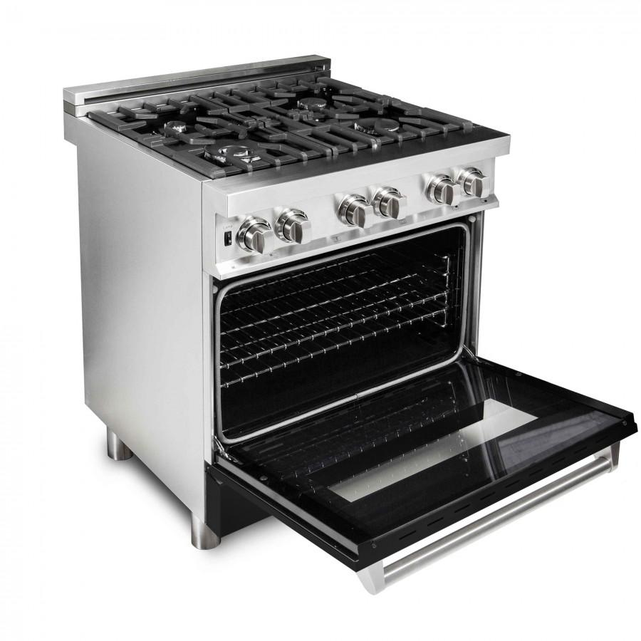 "ZLINE 30"" Professional Dual Fuel Range with Black Matte Door, RA-BLM-30 - Farmhouse Kitchen and Bath"