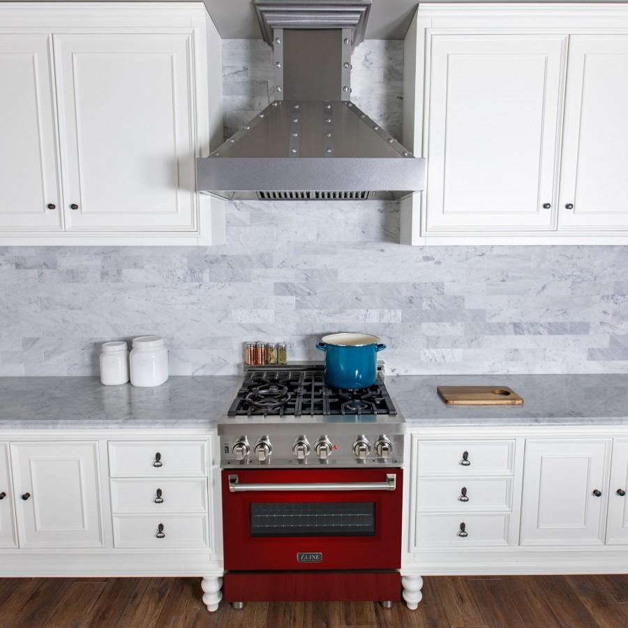 "ZLINE 30"" Professional Dual Fuel Range, Red Gloss Door, RA-RG-30 - Farmhouse Kitchen and Bath"