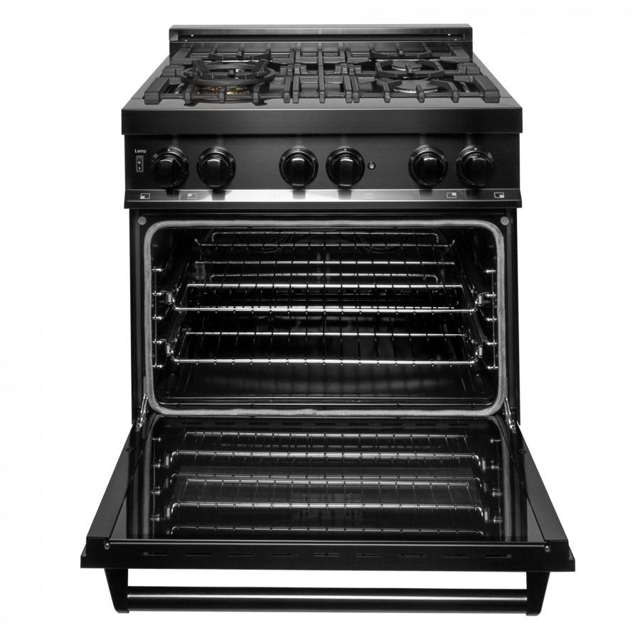 "ZLINE 30"" Black Stainless 4.0 cu.ft. 4 Gas Burner/Electric Oven Range, RAB-30 - Farmhouse Kitchen and Bath"
