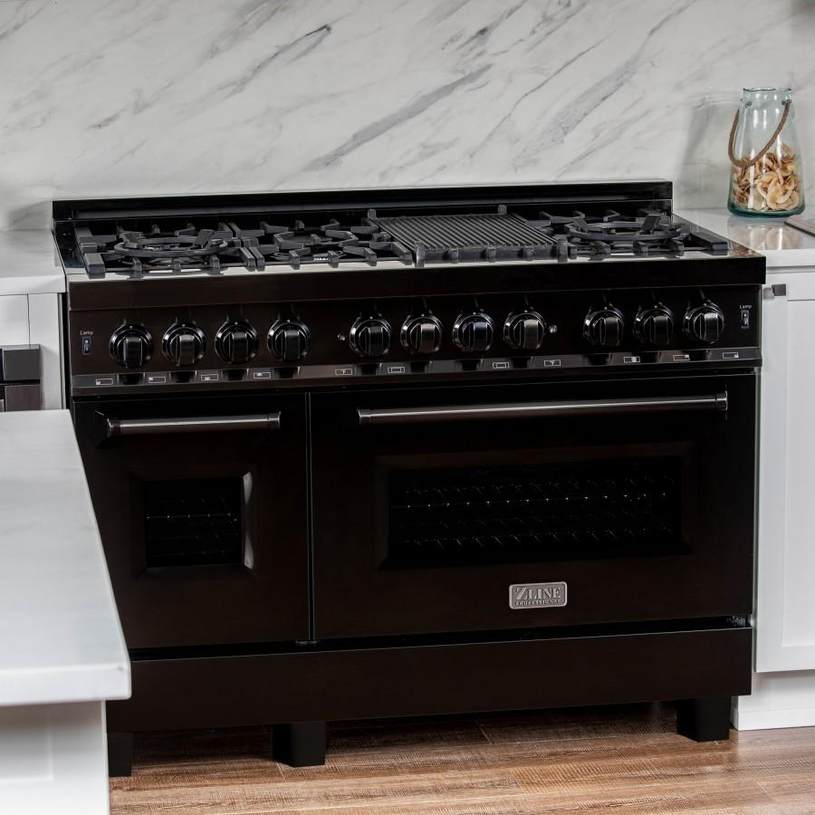 "ZLINE 48"" Black Stainless 6.0 cu.ft. 7 Gas Burner/Electric Oven Range, RAB-48 - Farmhouse Kitchen and Bath"