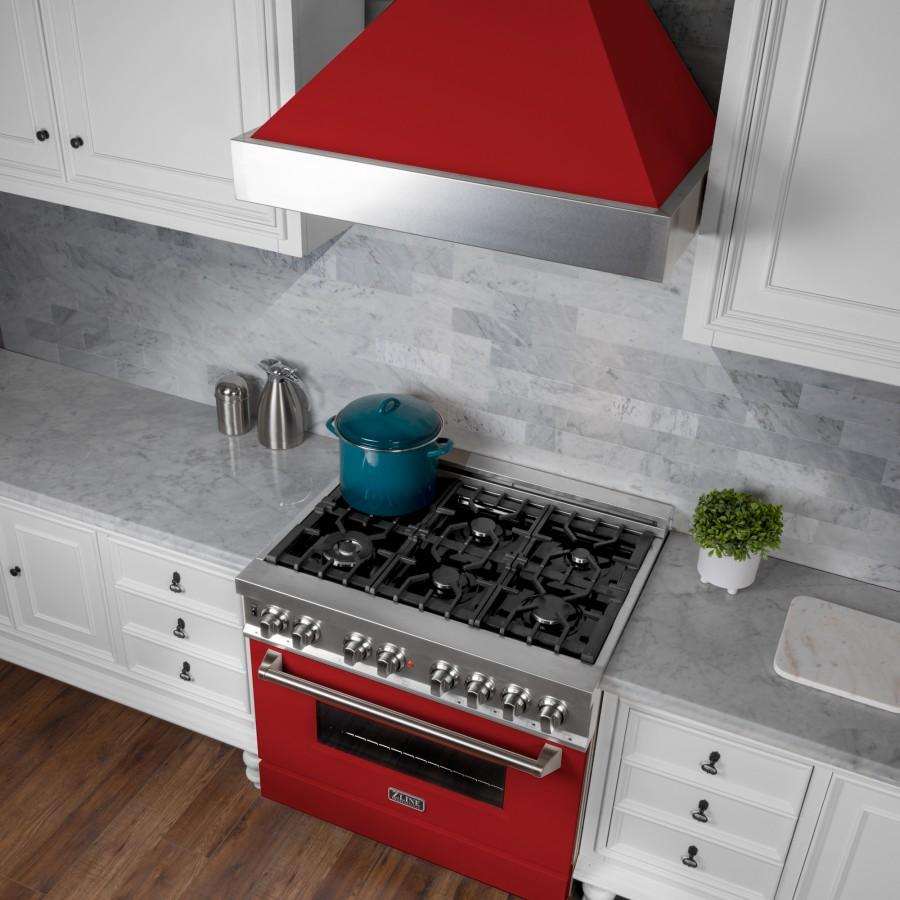 "ZLINE 36"" Professional Dual Fuel Range, Snow Stainless, Red Matte Door, RAS-RM-36 - Farmhouse Kitchen and Bath"
