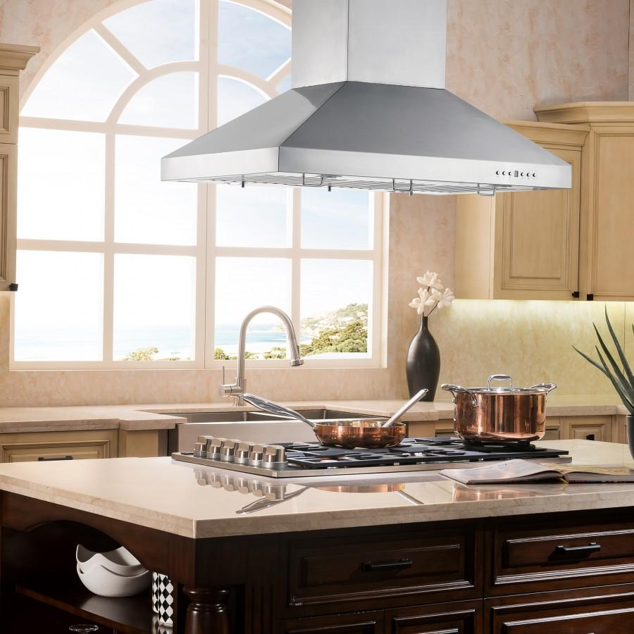 "ZLINE 36"" Snow Finished Stainless Island Range Hood, 8KL3iS-36 - Farmhouse Kitchen and Bath"