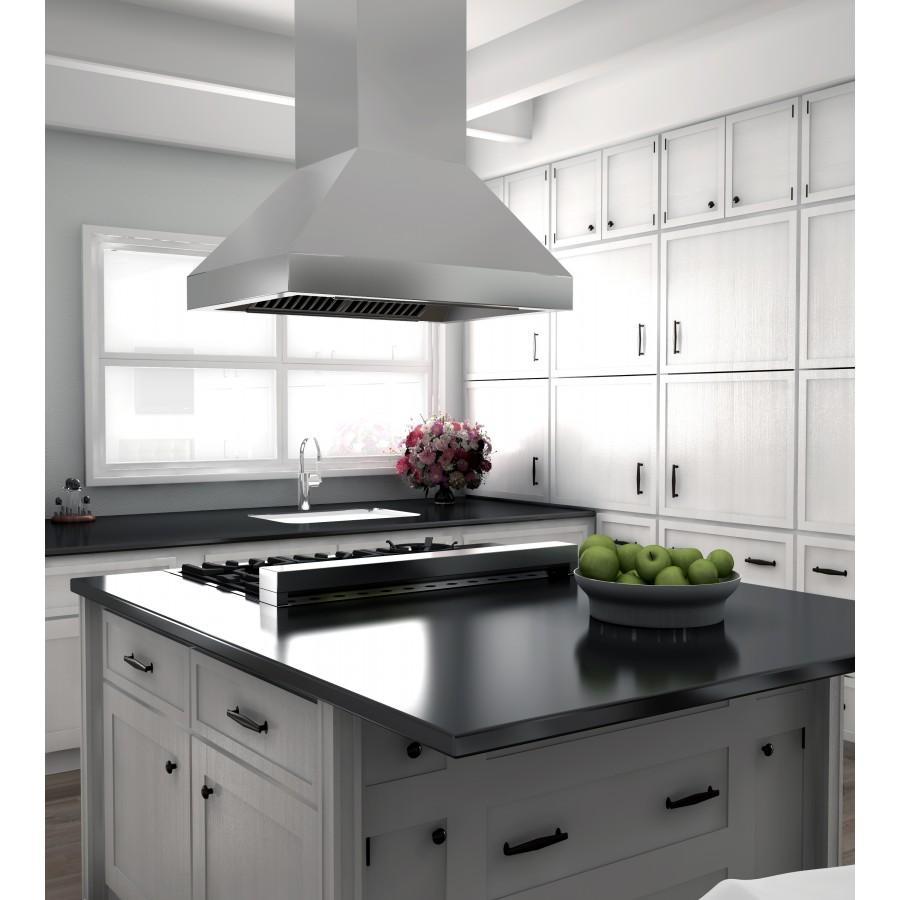 "ZLINE 48"" Stainless Steel Island Range Hood, 597i-48 - Farmhouse Kitchen and Bath"