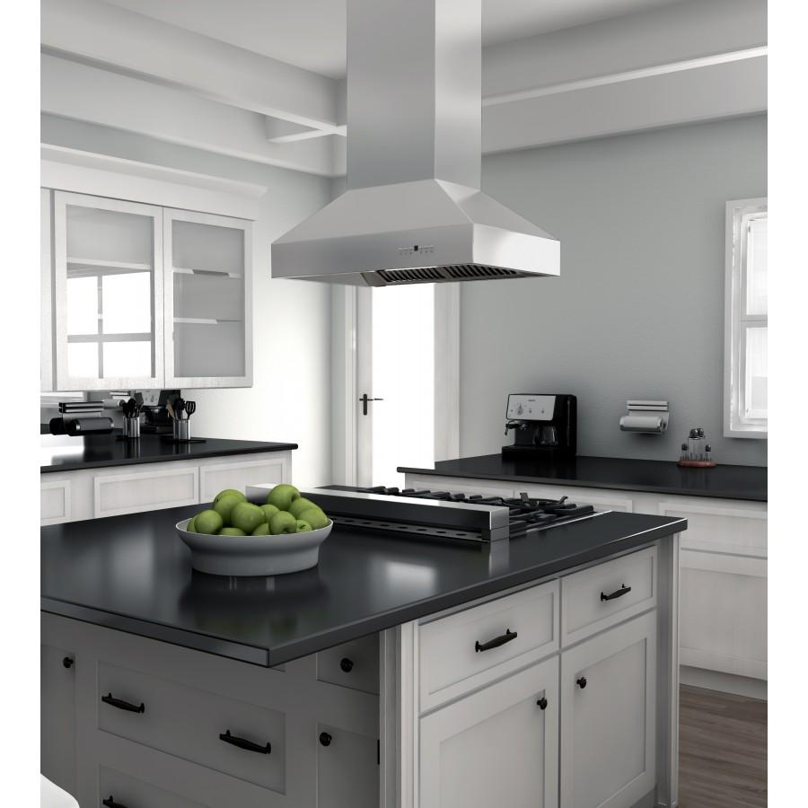 "ZLINE 48"" Remote Dual Blower Stainless Island Range Hood, 697i-RD-48 - Farmhouse Kitchen and Bath"
