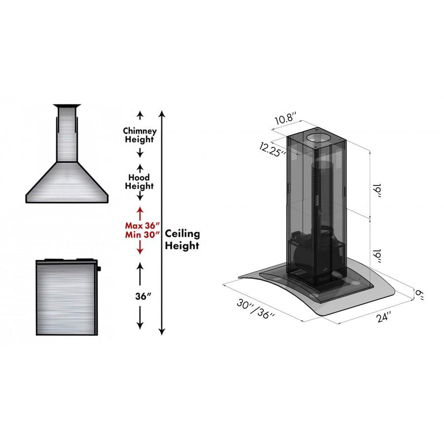 "ZLINE 36"" Island Mount Range Hood DuraSnow Stainless Steel & Glass, 8GL14iS-36 - Farmhouse Kitchen and Bath"