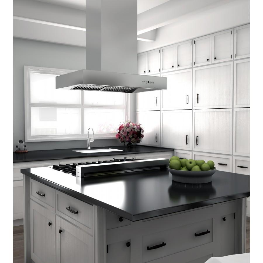 "ZLINE 36"" Remote Dual Blower Stainless Island Range Hood, KECOMi-RD-36 - Farmhouse Kitchen and Bath"