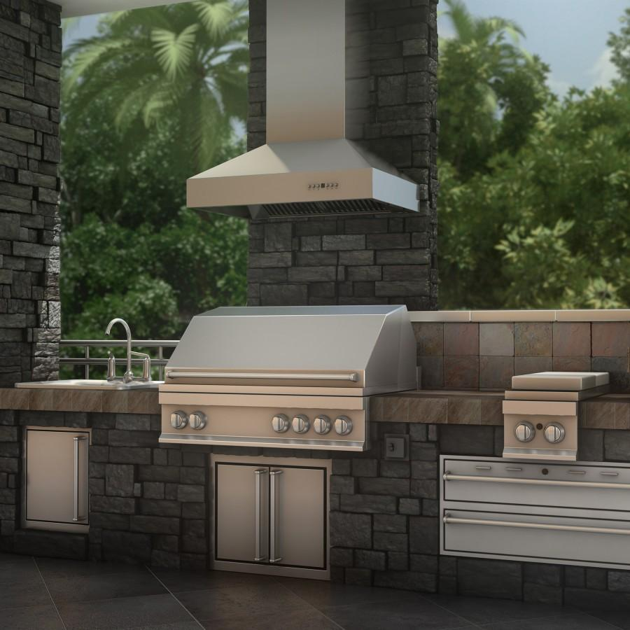 "ZLINE 60"" Outdoor/Indoor Stainless Wall Range Hood, 697-304-60 - Farmhouse Kitchen and Bath"