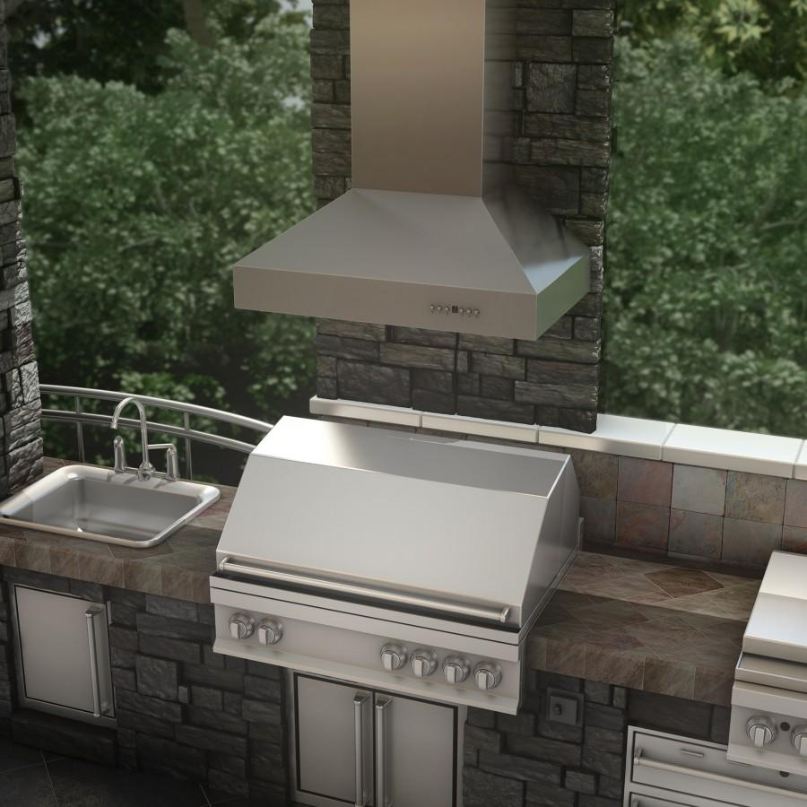 "ZLINE 48"" Outdoor/Indoor Stainless Steel Wall Range Hood, 667-304-48 - Farmhouse Kitchen and Bath"