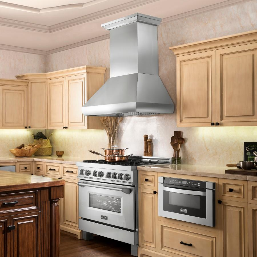 "ZLINE 36"" Professional Series Stainless Steel Wall Range Hood, 687-36 - Farmhouse Kitchen and Bath"