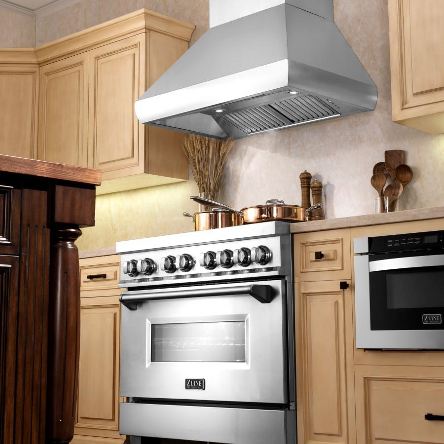 "ZLINE 36"" Remote Dual Blower Stainless Wall Range Hood, 687-RD-36 - Farmhouse Kitchen and Bath"