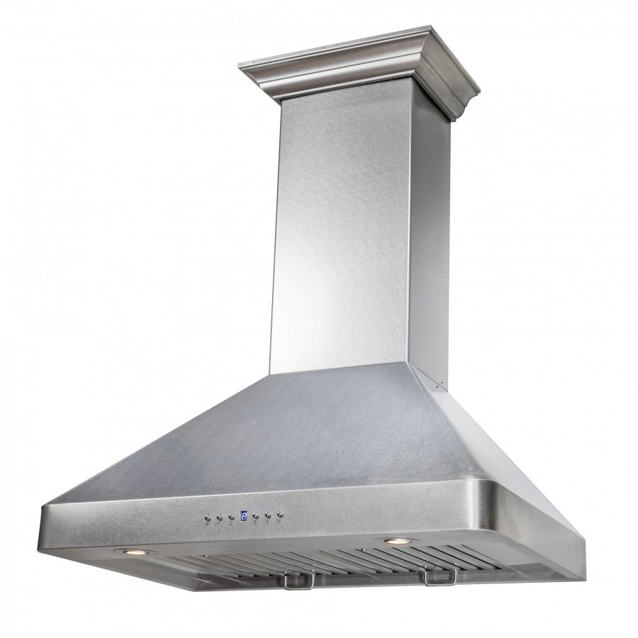 "ZLINE 36"" Wall Range Hood, Snow Finished, Stainless Steel, 8KF2S-36 - Farmhouse Kitchen and Bath"