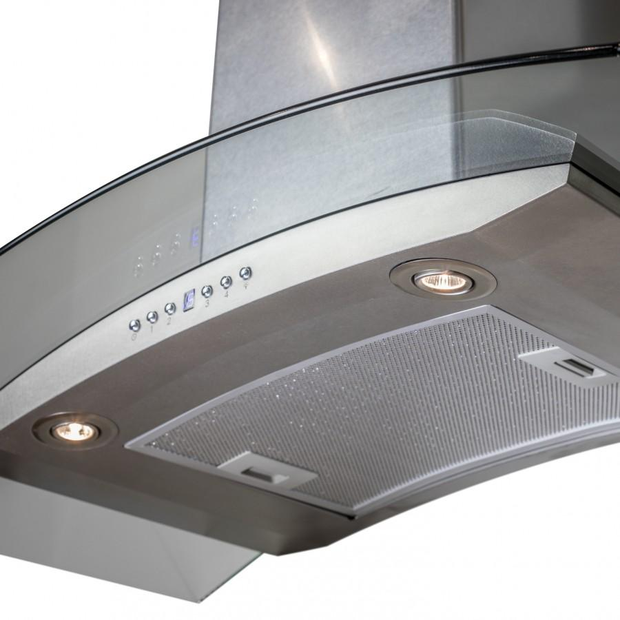 "ZLINE 36"" Wall Mount Range Hood, Snow Finished Stainless & Glass, 8KN4S-36 - Farmhouse Kitchen and Bath"