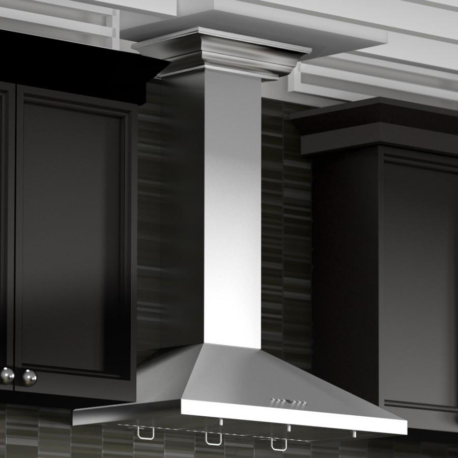 "ZLINE 42"" Stainless Steel Wall Range Hood, Crown Molding, KL2CRN-42 - Farmhouse Kitchen and Bath"