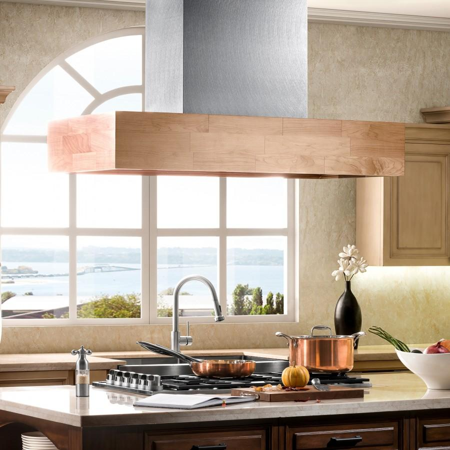 "ZLINE 48"" Wooden Island Range Hood, Butcher Block, 681iM-48 - Farmhouse Kitchen and Bath"