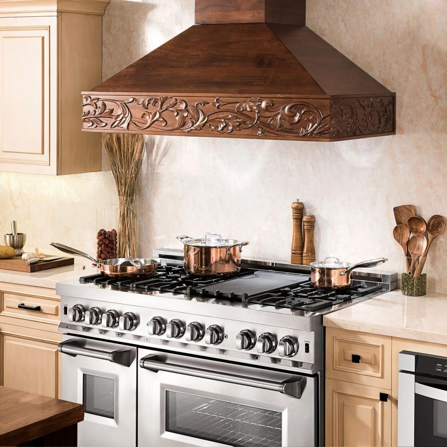 "ZLINE 30"" Wooden Wall Range Hood Walnut, Remote Motor, 373RR-RS-30-400 - Farmhouse Kitchen and Bath"
