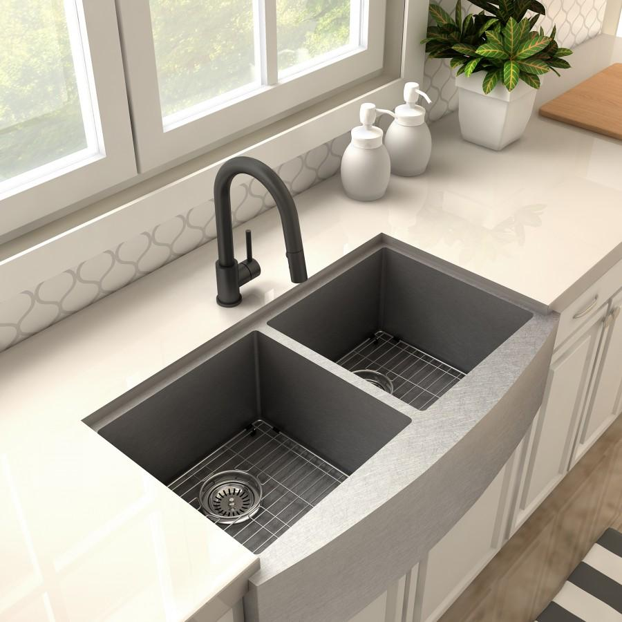 ZLINE Dante Kitchen Faucet in Electric Black Matte, 11-0130-EMB - Farmhouse Kitchen and Bath