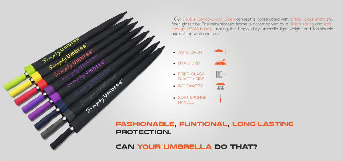 An overview of all the different Simply Umbree Umbrella colors that exist. Also, highlighting the various features of the umbrellas.