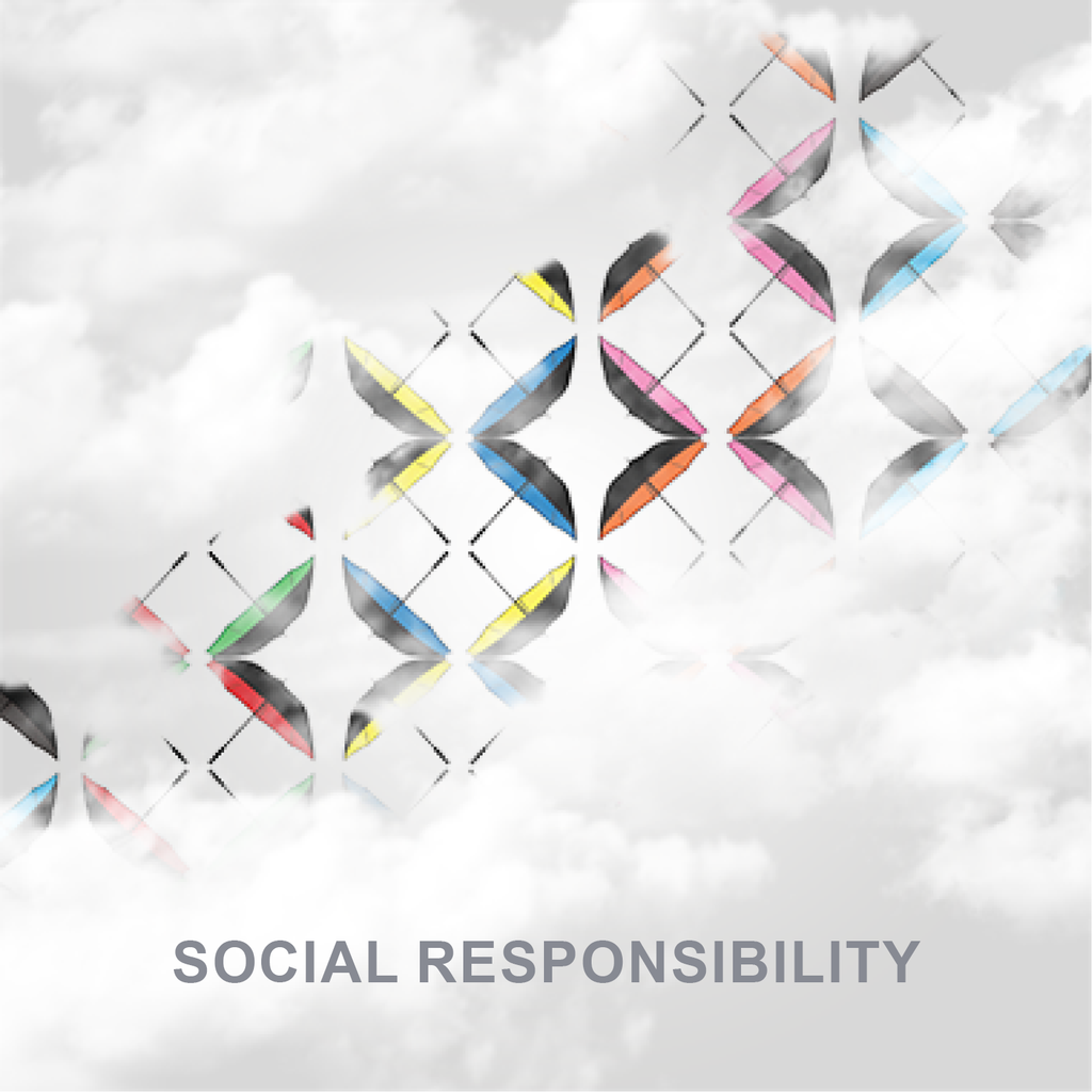 Social Responsibility with a depiction of different color umbrellas.