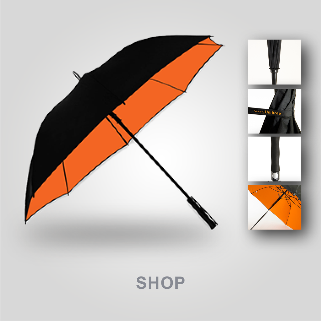 An Orange Simply Umbree Golf Umbrella. Displaying the features of the umbrella.