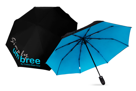 Light Blue Simply Umbree Folding Umbrella