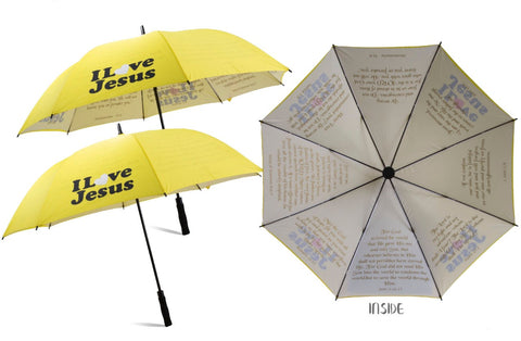 Yellow I Love Jesus Umbrella With Bible Verses On Inside