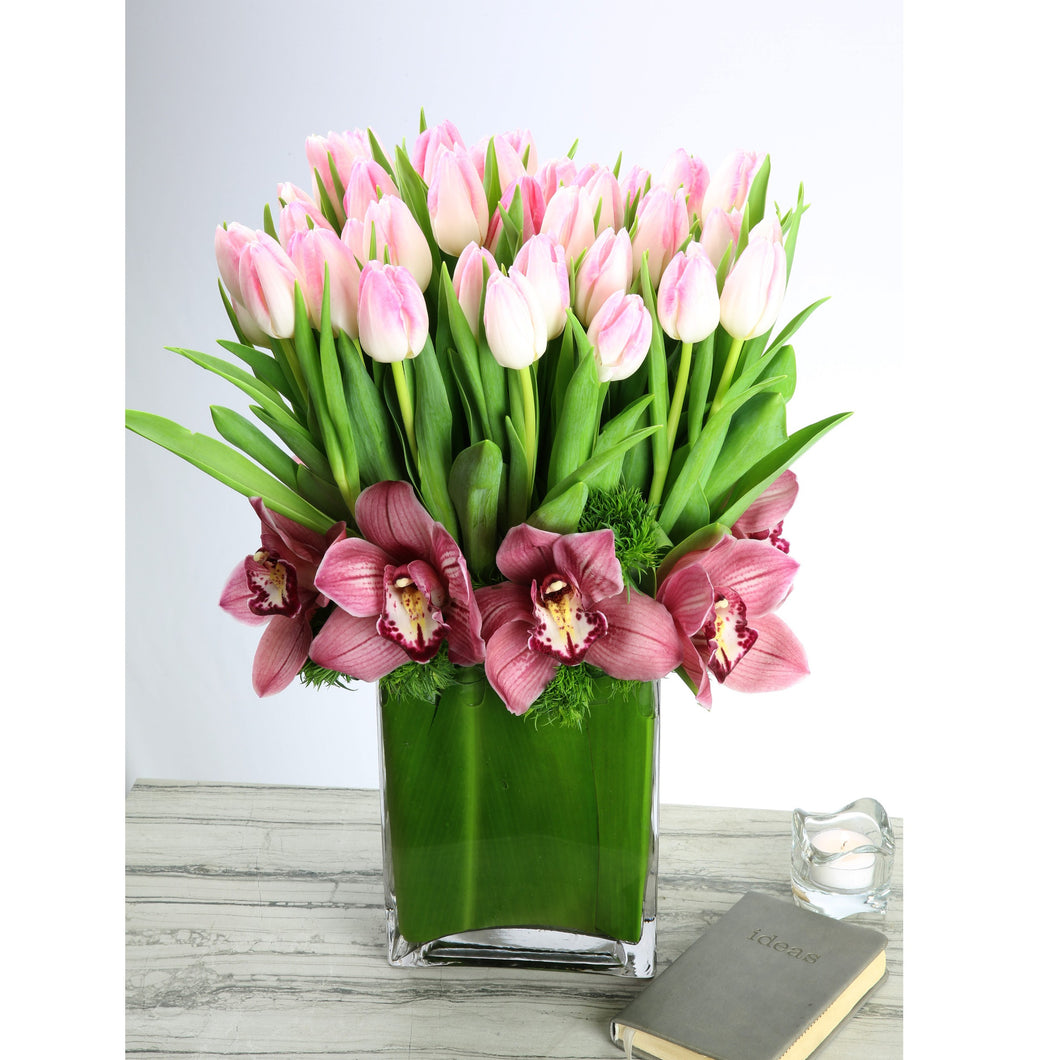 Pink Tulips With Orchids
