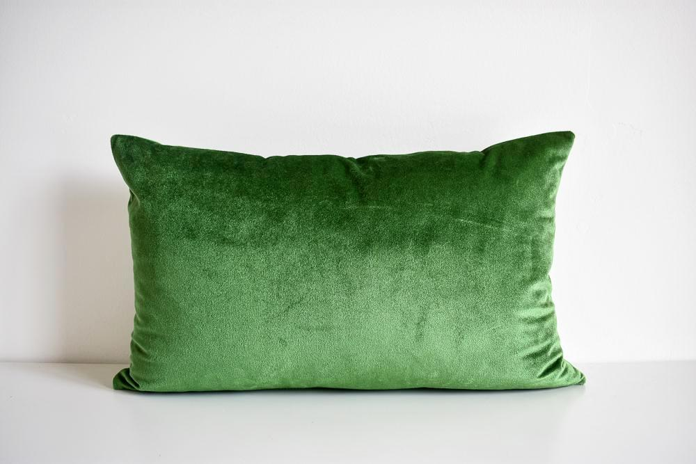 Velvet Pillow - Moss Green Lumbar