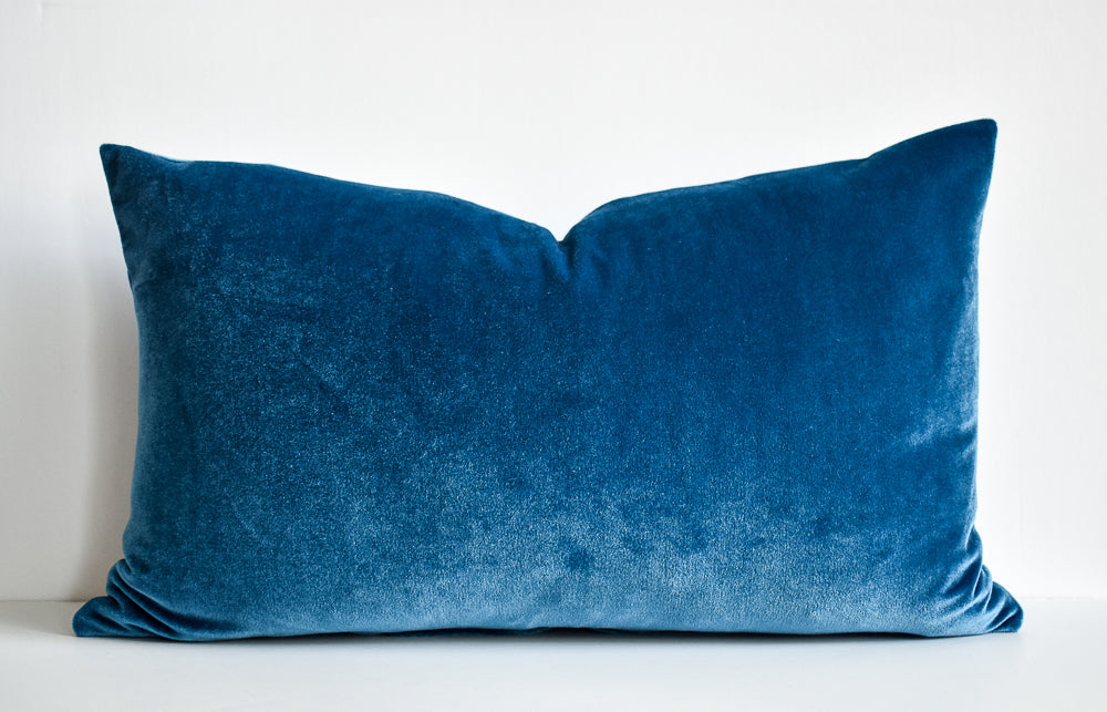 Velvet Lumbar Pillow - Royal Blue